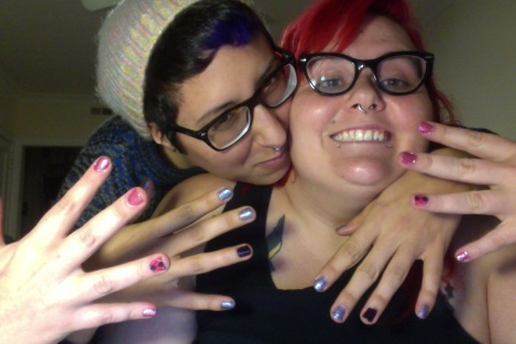 Photo: Posing with my pink argyle nail polish art. Google Images.
