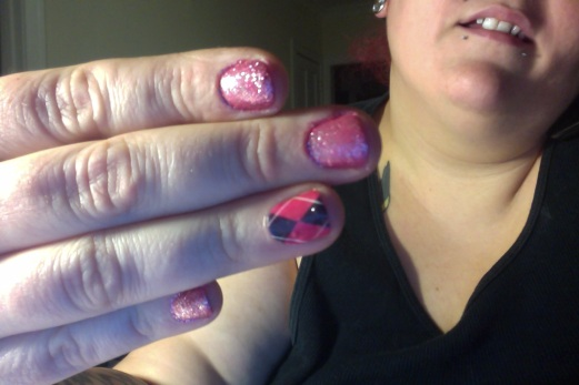 Photo: Pink argyle nail art. Google Images.
