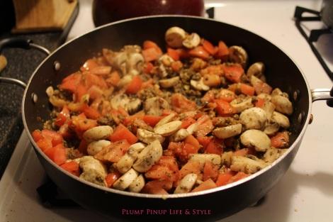 Photo: Sautéing the veggies for the hearty vegan pasta sauce. Photo source: Google Images
