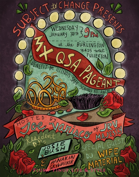 Photo: Mx. QSA pageant poster for Subject to Change. Photo source: Google Images, TeenyRobots.com