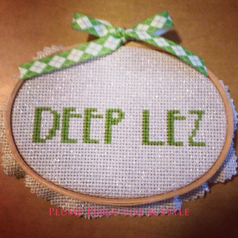 Photo: Cross stitched sampler of Deep Lez by Beelisty. Photo source: Google Images