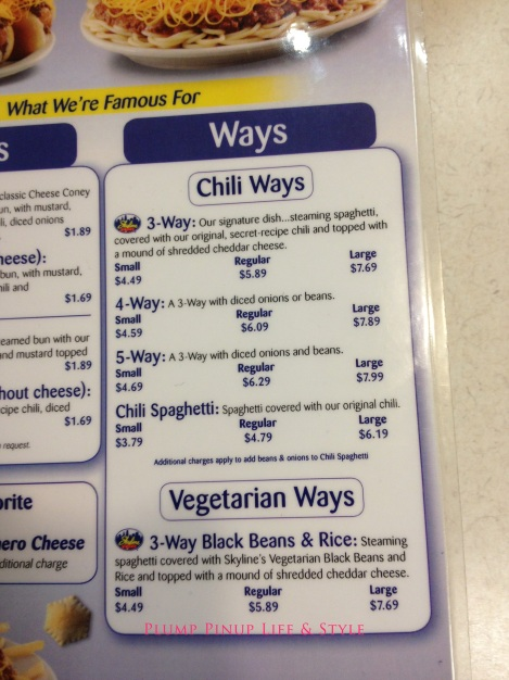 Photo: Skyline Chili menu of 3-ways, 4-ways, 5-ways. Photo source: Google Images
