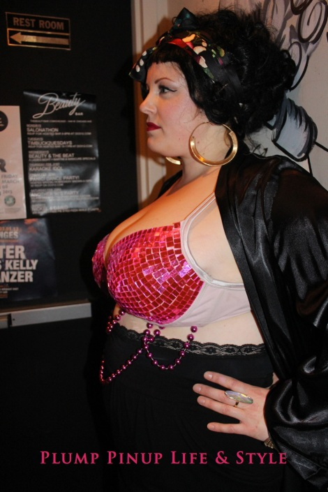 Photo: Salonathon Lexica at Beauty Bar Chicago Fashion Show Bras as shirts for plus size fat people Photo Source: Google Images 1 Elaine pink disco bra Lane Bryant Cacique plunge bra