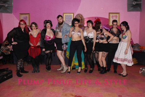 Photo: Salonathon Lexica at Beauty Bar Chicago Fashion Show Bras as shirts for plus size fat people Photo Source: Google Images 4 Group shot of models and the designer Anita Butch featuring disco bras, studded bra, rhinestone bras and galaxy bra