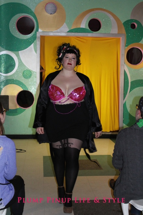 Photo: Salonathon Lexica at Beauty Bar Chicago Fashion Show Bras as shirts for plus size fat people Photo Source: Google Images 6 Elaine runway walk pink disco bra Lane Bryant Cacique plunge bra