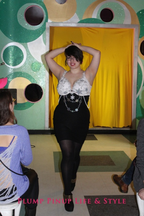 Photo: Salonathon Lexica at Beauty Bar Chicago Fashion Show Bras as shirts for plus size fat people Photo Source: Google Images 7 Zoe runway shot snowflake bra white lace Lane Bryant Cacique plunge bra