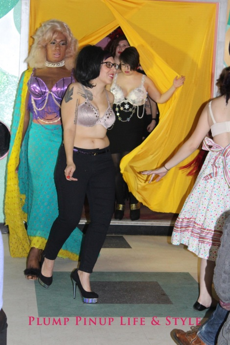 Photo: Salonathon Lexica at Beauty Bar Chicago Fashion Show Bras as shirts for plus size fat people Photo Source: Google Images 9 Runway finale Ri, Darling Shear, Zoe, Danielle, in studded bra, seashell bra, and snowflake bra