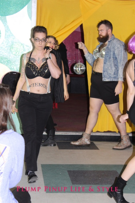 Photo: Salonathon Lexica at Beauty Bar Chicago Fashion Show Bras as shirts for plus size fat people Photo Source: Google Images 10 Runway finale Lex in studded bra dressed masculinely