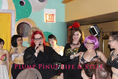 Photo: Salonathon Lexica at Beauty Bar Chicago Fashion Show Bras as shirts for plus size fat people Photo Source: Google Images 11 Runway finale Me explaining the bras and pointing to Cassie in the galaxy bra