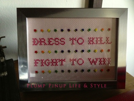 "Photo: Cincinnati trip Photo source: Google images 4 Beelisty cross stitch reads ""Dress to Kill, Fight to Win"""
