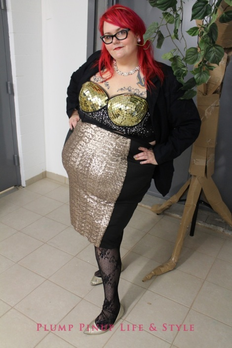 Photo: So Very Alive: Performing Feminist and Queer Utopias, Futures and Dreams at Rumble Arts Center. Image Source: Google Images 4 Anita Butch OOTD 1 Gold longline disco bra with ASOS Curve black pencil skirt with gold sequin panels back stage