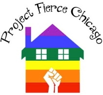 Project Fierce Chicago Logo, rainbow house with solidarity fist Photo source: Google Images, Project Fierce Chicago