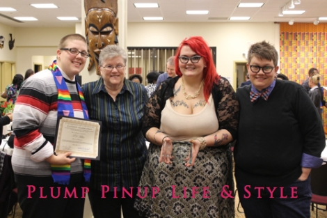 Photo: University of Cincinnati Lavender Graduation awards ceremony and commencement graduation Photo source: Google Images, Anita Butch Lavender Graduation Rainbow Celebration holding my outstanding LGBT alumna award with Bestie, Bee Listy and Deb