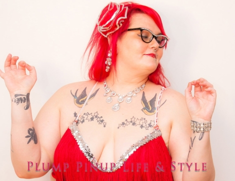Featured photo: Photo: Plump Pinup Vintage & Couturier line of fat and body positive bras red fringe bra and shimmy belt burlesque costume full length Photo source: Google Images, Kriss Abigail Photography featured image