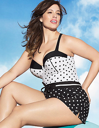 Photo: Lane Bryant retro white polka dot balconette tankini top Photo source: Google Images, Lane Bryant