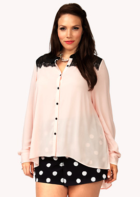 Photo: Forever 21+ Contrast Lace Yoke Shirt Photo source: Google Images, Forever 21