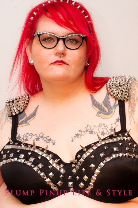 Photo: Plump Pinup Vintage & Couturier line of fat and body positive bras stud and spiked bra headshot Photo source: Google Images, Kriss Abigail Photography