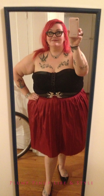 Photo: Queerer Park Spring Cleanin' May 2013 at Beauty Bar Chicago Photo source: Google Images, Glitter Guts OOTD Thrifted red check circle skirt and Torrid black lace bustier