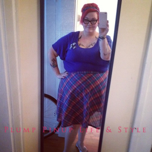 Photo: Instagram OOTD Roundup April/May 2013 Photo Source: Google Images Torrid purple bird shirt with plaid circle skirt homemade from vintage fabric