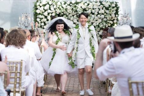 Photo: Beth Ditto and Kristin Ogata wed in Maui, Hawaii. Photo Source: Google Images, The Gossip Jean Paul Gaultier wedding dress