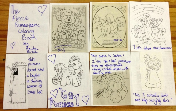 Photo: Make your own gendertastic coloring book event at Powell's books Photo source: Google Images, Anita Butch My rad coloring book pages all laid out for Instagram