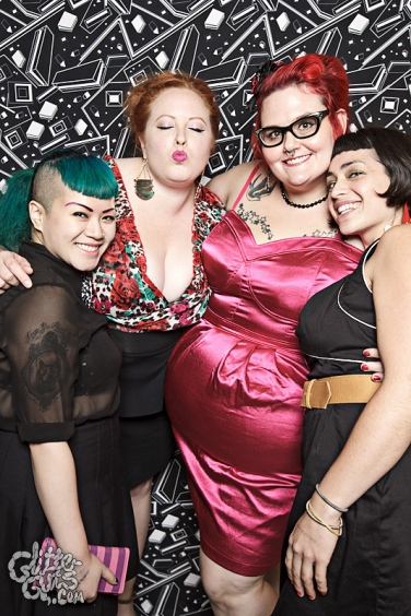 Photo: Queerer Park Homocoming in Monochrome Photo source: Google Images, Glitter Guts 3 cute posed group shot Elaine, Me, Rachel